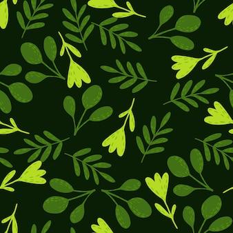 Zufälliges nahtloses waldmuster mit grünen volksblumen. grüner druck der botanischen flora auf schwarzem hintergrund. stock illustration.