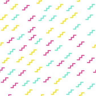 Zufälliges zickzackmuster, abstrakter geometrischer hintergrund im 80er, 90er jahre retro-stil. bunte geometrische illustration
