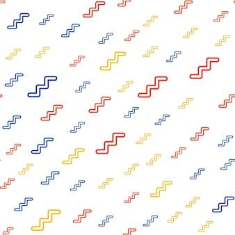 Zufälliges zickzackmuster, abstrakter geometrischer hintergrund im retro-stil der 80er, 90er jahre. bunte geometrische illustration