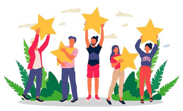 Zufriedene kunden bewerten die servicequalität mit bewertungssternen