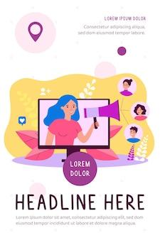 Zufriedene kunden, die am empfehlungsprogramm in der flachen internetillustration teilnehmen
