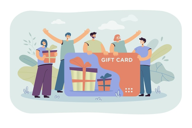 Zufriedene kunden, die geschenkkarte von geschäft oder geschäft erhalten. verbraucher mit gutschein feiern verkaufssaison. karikaturillustration