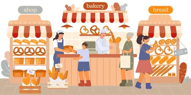 Zufriedene kunden in der bäckerei und eine fülle von sortimenten flacher illustration Premium Vektoren