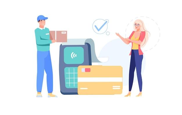Zufriedene kunden zahlen drahtlos für die lieferung von bestellungen per smartcard-modernem bezahlen