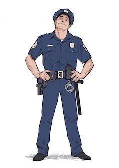 Zufriedener polizist in uniform. blaue form. zuversichtlich polizist. selbstbewusster mann in blauer uniform. der typ in der mütze. glücklicher polizist. starker charakter. fange die verbrecher.
