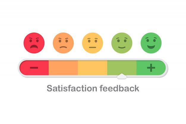 Zufriedenheits-feedback-skala mit emoticon-konzept in flachem design
