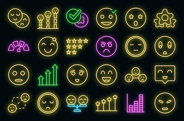 Zufriedenheitslevel icons set vektor neon