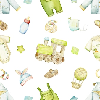 Zug, kleidung, schuhe, ballon, spielzeug. aquarell nahtlose muster, auf einem isolierten hintergrund, im boho-stil.