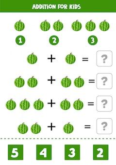Zugabe mit cartoon-wassermelonenfrucht. lernspiel für kinder. druckbares arbeitsblatt für kinder im vorschulalter. löse die gleichungen und schreibe die antwort auf.