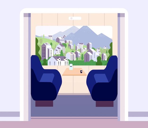 Zuginnenraum. leeres zugabteil ohne reisende. sommerlandschaft im kutschenfenster. flaches konzept des eisenbahnreisevektors