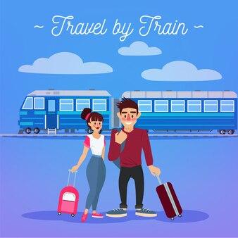 Zugreise. tourismus industrie. aktive menschen. mädchen mit gepäck. mann mit gepäck. glückliches paar