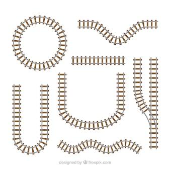 Zugschienensammlung mit verschiedenen formen