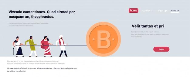 Zugseil des indischen volksteams bitcoin bergbaukonzeptzeichentrickfilm-figur