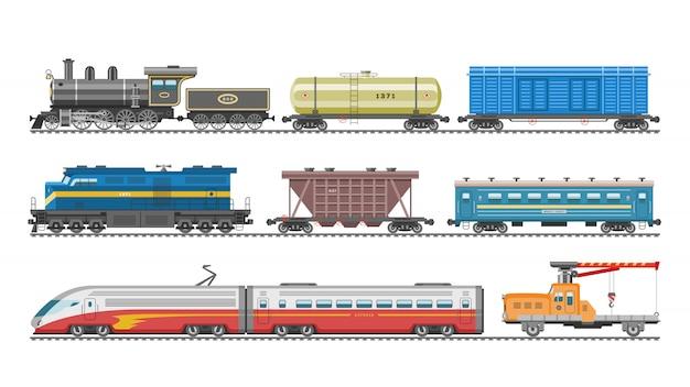 Zugvektor-eisenbahntransportlokomotive oder -wagen und u-bahn- oder u-bahn-transportillustrationssatz des transportablen fahrzeugs oder wagens auf bahnhof lokalisiert auf weißem hintergrund