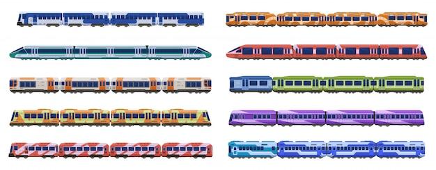 Zugwagen. personenbahnzüge, moderne u-bahn-hochgeschwindigkeitszüge, stadttransportillustrationsikonen eingestellt. verschiedene straßenbahn- und reihenwagen, zugwagen
