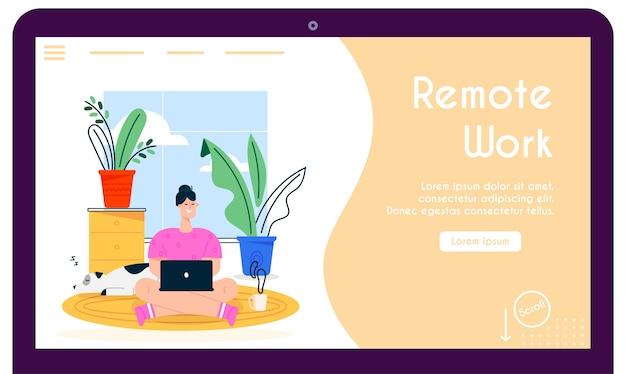 Zuhause arbeiten. fernarbeiterin sitzt auf boden, arbeitet am laptop, haustierhund schläft. home-office-interieur, bequemer arbeitsplatz, freiberufler