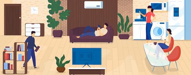 Zuhause freizeit und ruhe nach der arbeit, menschen verbringen zeit drinnen, entspannen, kaffee trinken, buch cartoon illustration lesen.
