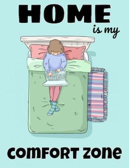Zuhause ist meine niedliche lustige postkarte der kuschelecke