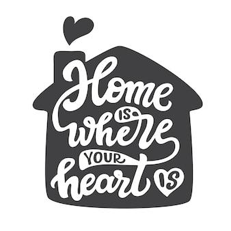 Zuhause ist, wo dein herz ist, schriftzug