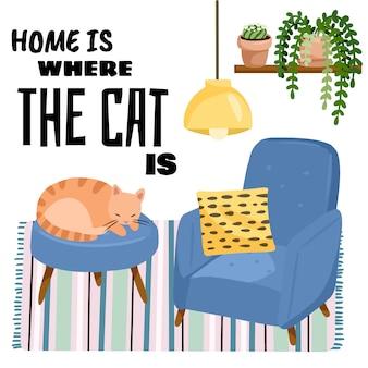 Zuhause ist, wo die katze postkarte ist. katze auf einem schemel im scandic stilvollen rauminnenraum.