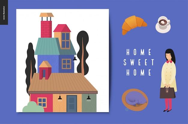 Zuhause süße heimat illustration