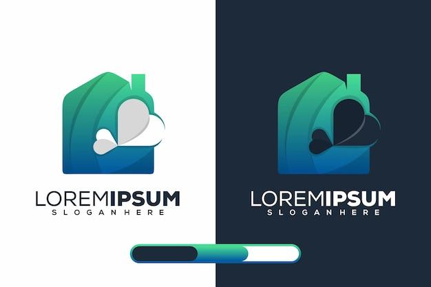 Zuhause und liebe modernes logo-design