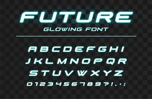 Zukünftig leuchtende schrift. schneller sport, futuristisches, technologisches alphabet. neonbuchstaben und -nummern für schnelles, industrielles high-tech-logo-design