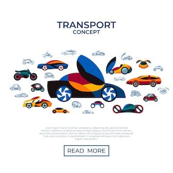 Zukünftige autokonzept-ikonensammlung