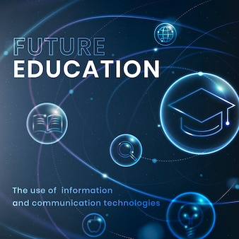 Zukünftige bildungstechnologie vorlage vektor social media post