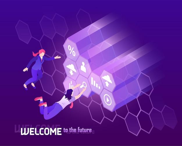 Zukünftige hochtechnologie mit menschen vor isometrischer illustration des großen monitors