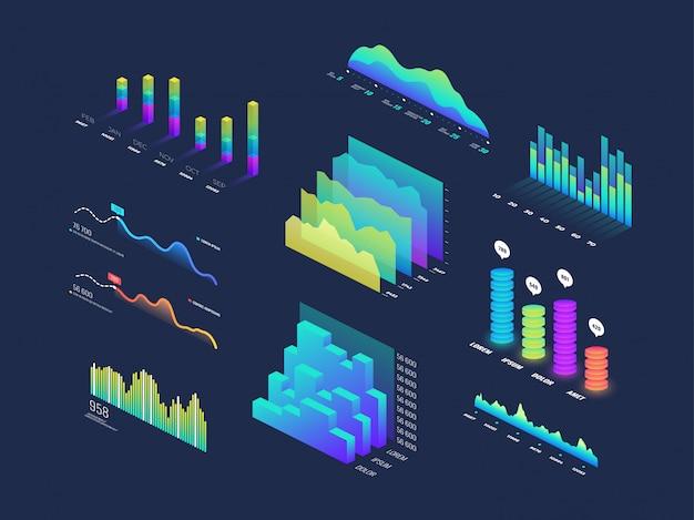 Zukünftige isometrische daten der technologie 3d finanzieren grafik, geschäftsdiagramme, analyse und planbinärindikatoren und infographic vektorelemente