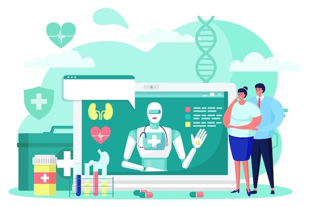 Zukünftige medizin cyborg online-medizintechnik, vektorillustration, futuristischer roboter helfen menschen, patientencharakter im krankenhaus, künstlicher geist.