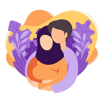 Zukünftige muslimische eltern mann und frau erwarten ein baby. das islamische ehepaar bereitet sich darauf vor, eltern zu werden. mann, der schwangere frau mit bauch umarmt. mutterschaft, vaterschaft. eben .