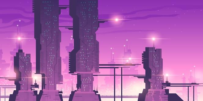 Zukünftige nachtstadt mit futuristischen wolkenkratzern