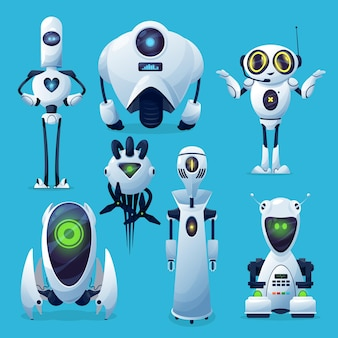 Zukünftige roboter, außerirdische roboter- oder androidencharaktere.