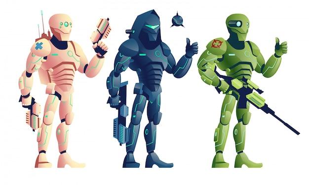 Zukünftige robotersoldaten, cyborgs bewaffnete pistolen, saboteur mit schrotflinte und sprengstoff
