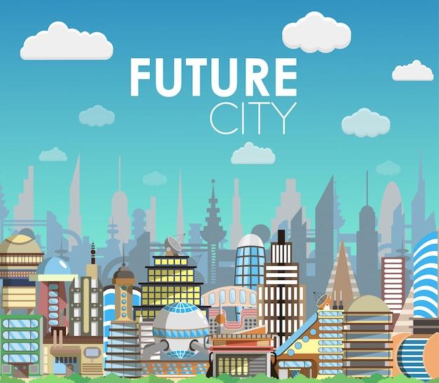 Zukünftige stadtlandschaftskarikatur-vektorillustration. moderner baukasten. architektur der zukunft. flaches design