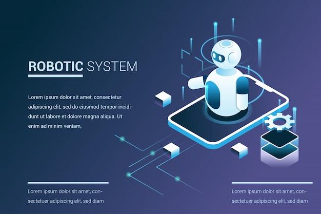 Zukünftige systemautomatisierung mit roboterfunktionen im isometrischen 3d-stil