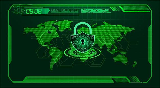Zukünftige technologie der binären leiterplatte, grüner welt-hud-internetsicherheitshintergrund,