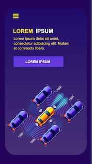 Zukünftige transport-handy-vektoranwendung