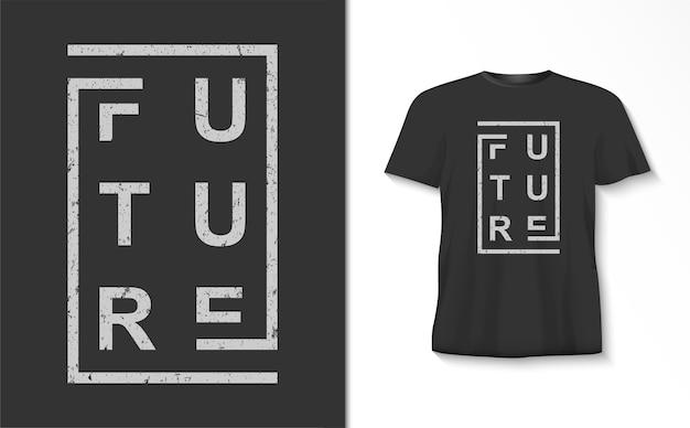 Zukünftige typografie mit linien-t-shirt