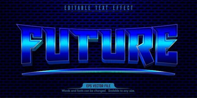 Zukünftiger bearbeitbarer texteffekt im blauen eisenstil