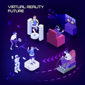 Zukünftiger isometrischer hintergrund der virtuellen realität