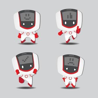Zukünftiger roboter-digital-gesichtscharakter mit abbildung mit vier posen
