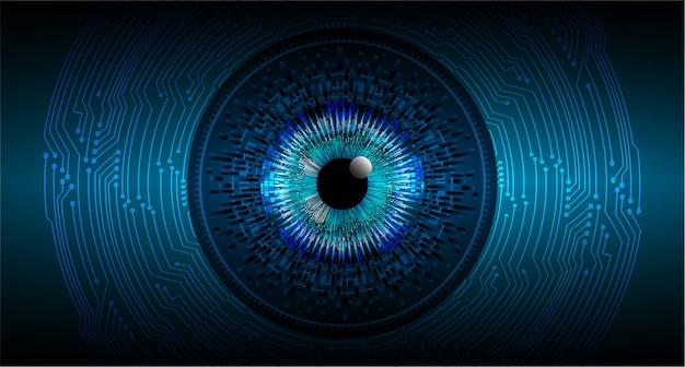 Zukünftiger technologie-konzepthintergrund des blauen auges cyber-stromkreises