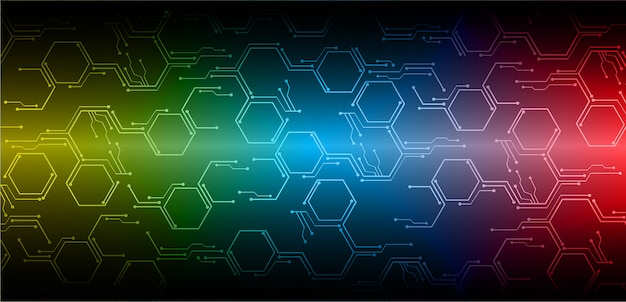 Zukünftiger technologiehintergrund der cyber-schaltung des blauen rotes