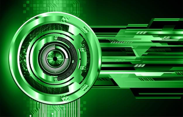 Zukünftiger technologiehintergrund der cyber-schaltung des grünen auges