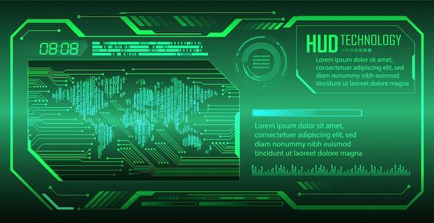 Zukünftiger technologiehintergrund der hud-grünwelt-cyber-schaltung
