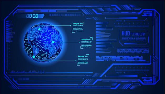 Zukünftiger technologiehintergrund der hud-weltblauen cyber-schaltung