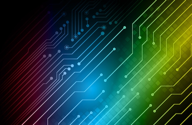 Zukünftiger technologiehintergrund des blauen gelben cyberstromkreises